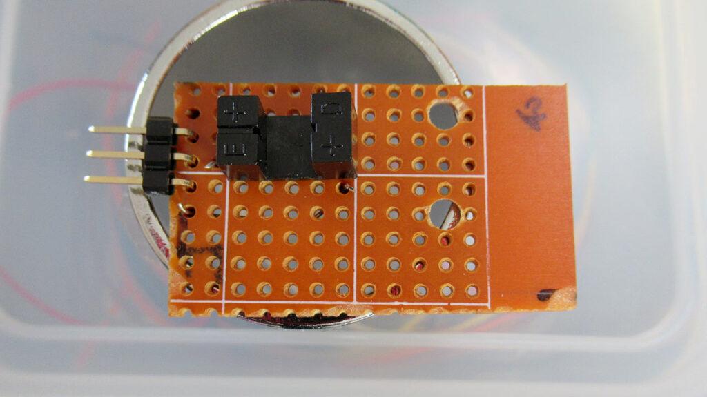 フォトインタラプターをユニバーサル基板に実装